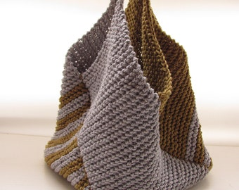 Knitted bag---Gray and green----- cotton-gift-women-one-of-a-kind.Chrsitmas gift