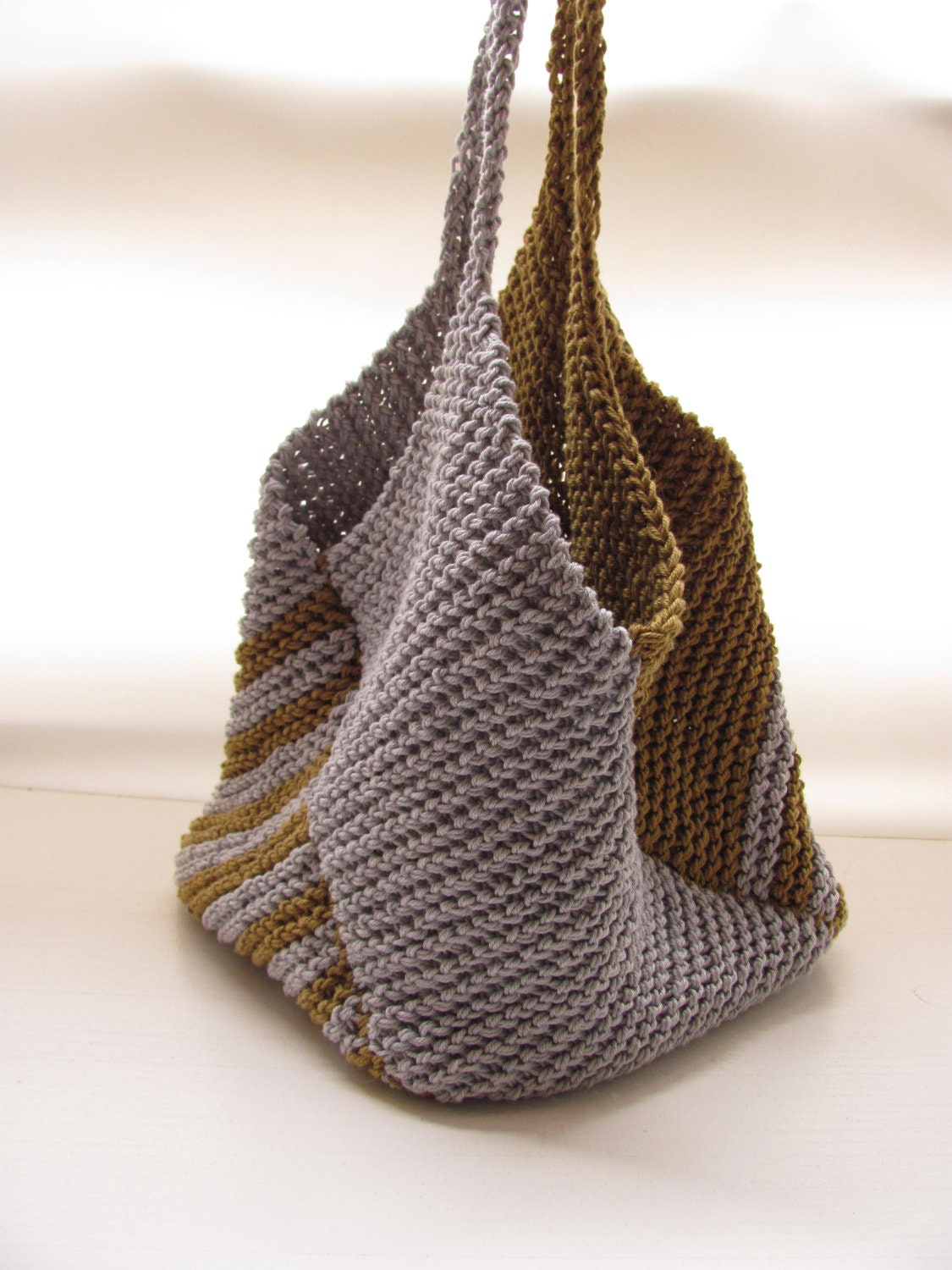 Knitted Bag Patterns For Beginners : Knitted bagGray and green