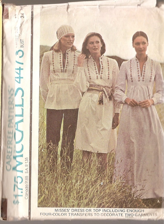 "vintage BOHO, long dress, blouse top, hippie, peasant dress, McCalls 4473, sz  Misses 12, bust 34"" open neck, sewing pattern transfer 1975"
