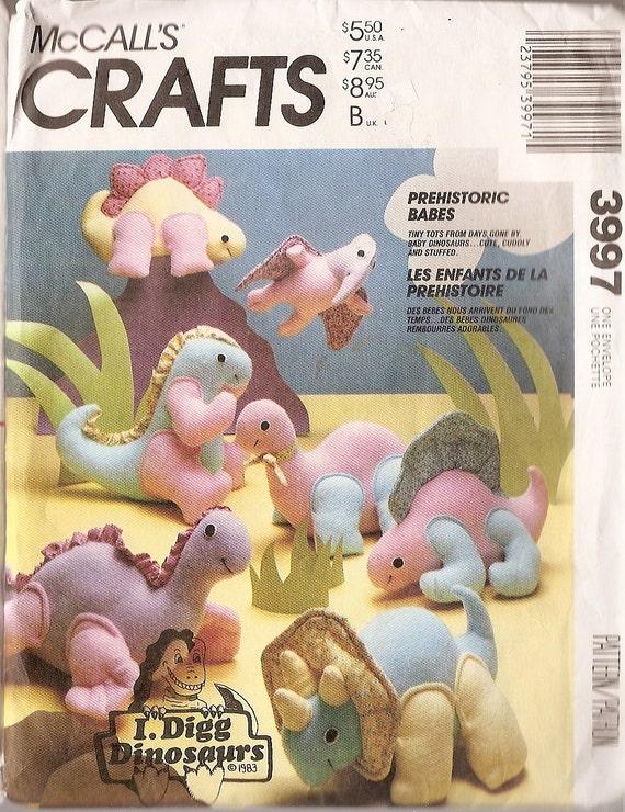 Dinosaur Prehistoric Animal McCalls 3997 vintage sewing pattern stuffed animal pattern package