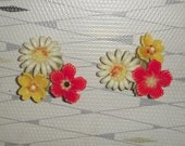 Fab Large 40s Celluloid Floral Red White and Yellow FUN Earrings