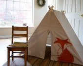 Fold up Children's A Frame Play Tent - Orange Fox