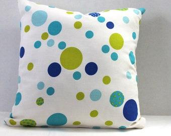 18 x 18 Pillow Cover Blue Green Dots