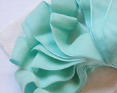 Vintage 1930's French Velvet Ribbon 1 7/16 Inch Gorgeous Aqua Blue