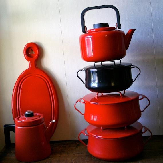 Vintage Red Dansk Tea Pot Kettle Enamelware Gunnar Cyren 1970s