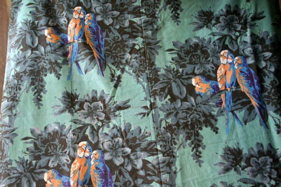 Vintage 1940s 1950s Parrots Cotton Fabric Midcentury Tropical Floral Birds