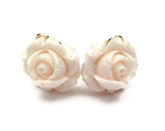 Blush Pink Rose Spring Flower Clip On Earrings