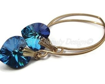 Bermuda Blue Swarovski Heart Earrings