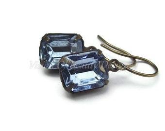 Sapphire Blue Vintage Rhinestone Earrings Gift for Her Dainty Light Sapphire Blue