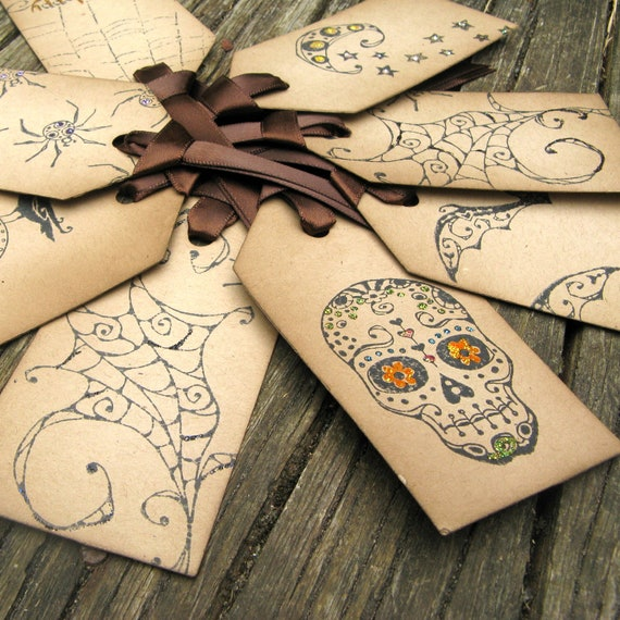 Primitive Halloween Tags - Set of 8 - Halloween Treat Tags