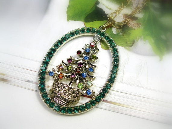Vintage 1960s Crystal Christmas Tree Pendant Necklace