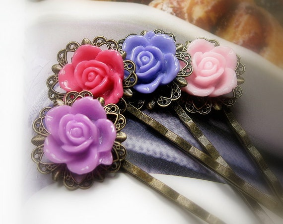 Flower Bobby Pins, Hair Accessories, Violet, Purple, Pink, Coral, Floral Hair Pins, Vintage Style, Resin Cabochons, Roses, Gifts for Her