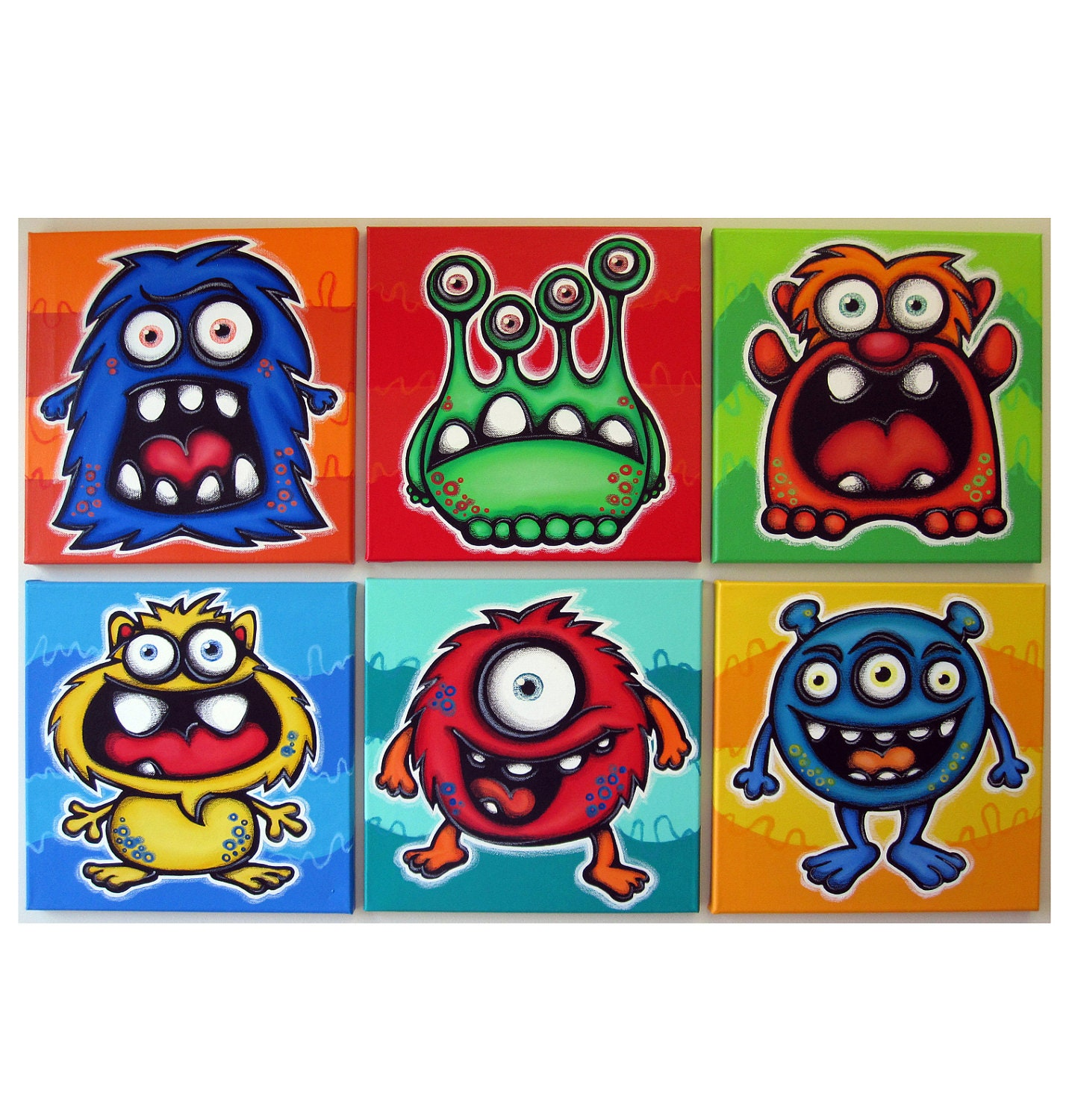 Many monsters set of 6 12x12 original painings on canvas - Monster verf ...