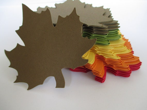 Autumn Maple Leaf Tag Wishing Tree Red Orange Yellow Green Brown