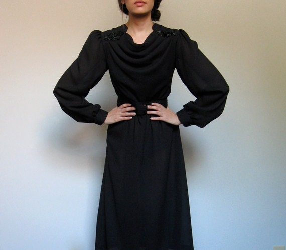 Sheer Black Dress Vintage Beaded Shoulder Epaulette 70s Long Sleeved Dress Fall Fashion Draped Knee Length Dress - Medium Large M/ L