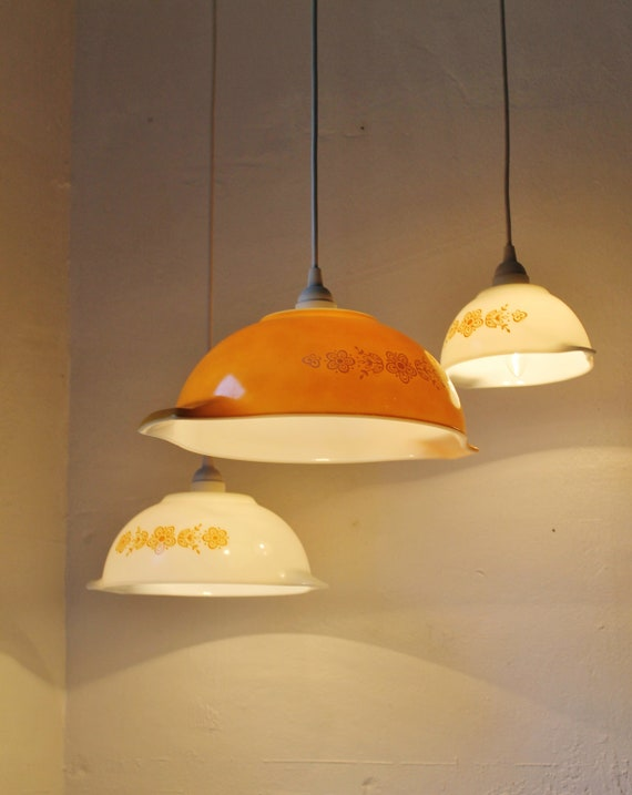 Autumn Sunset Butterfly Gold Pattern Pyrex Cinderella Bowl Pendant Lights - UpCycled ReCycled Hanging Lighting Fixture - Set of 3