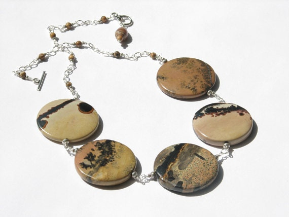 Dendritic agate and jasper necklace, black tan rust necklace, gemstone statement necklace, stone discs, reversible, fall- Leopard