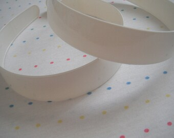 "Extra Wide White Plastic Headbands, 1"" Wide (2)"