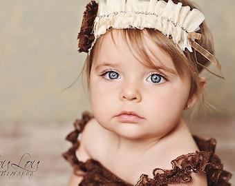 VANILLA CHOCOLATE Ruffle  Shabby Chic Elegant Rosette Flower Rhinestone Headband