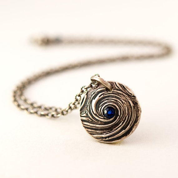 Modern Evil Eye Necklace with Blue Sapphire Oxidized Fine Silver Chain