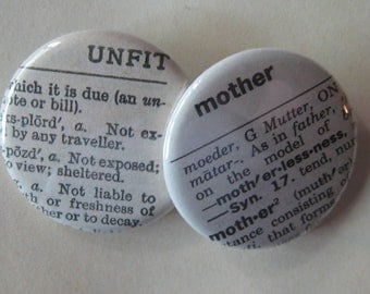 Unfit Mother Vintage Dictionary Pin Set of 2