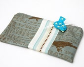 Zipper Pouch, Pencil Case, or Cosmetic Bag - Birdy Bag in Blue with Handmade Bird Felt Zipper Pull