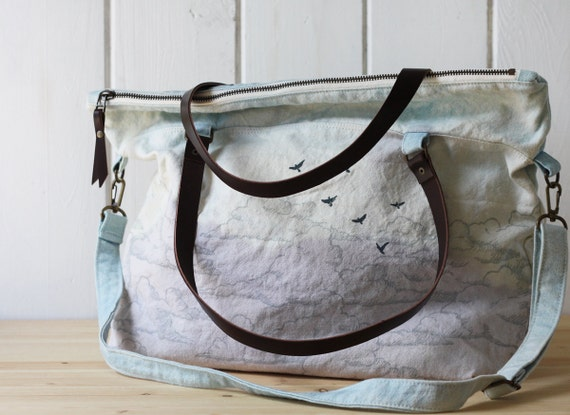 One of a kind - Naturally Dyed - Sky Zipper Tote no.3