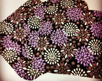 Purple Mums- Set of 4 wipes - flannel and OBV - SOFT - 8x8 size