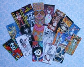 Day of the Dead and Frida Sets- YOUR CHOICE of sizes- 18 STICKERS w/ Adhesive backing- Dia de los Muertos Frida Day of the Dead art images