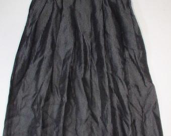 gun metal silver grey black pinstripe skirt boho bohemian punk 28 waist stripe steampounk art goth