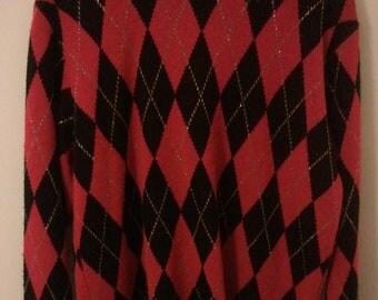 red black gold argyle sweater holiday jumper pullover tartan punk grunge 80s eighties boho men iunisex L Alfred Dunner