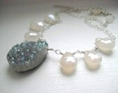 Druzy Briolette Necklace with Pearl Chalcedony Briolettes on Sterling Silver