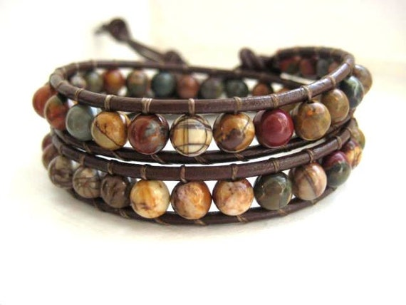 Indian Agate Leather Wrap Bracelet Chan Luu Style Dark Brown Leather Ornate Silver Button Jewelry