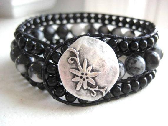 Black Onyx and Black Silkstone Gemstone Beaded Cuff Bracelet - Gemstones on Black Leather Three Rows