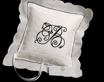 Monogrammed Irish Linen Ring Bearer Pillow, Style 8634