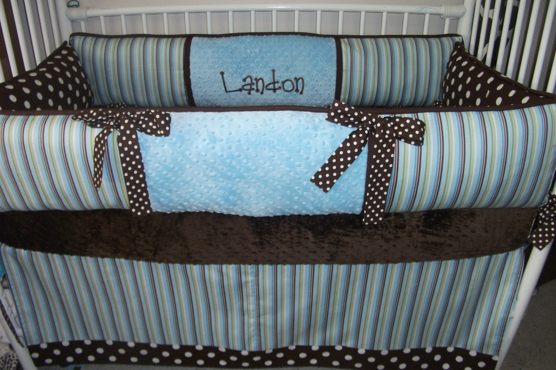 Baby Blue Stripe Boys Custom Baby Bumper Pad Crib Set Deposit