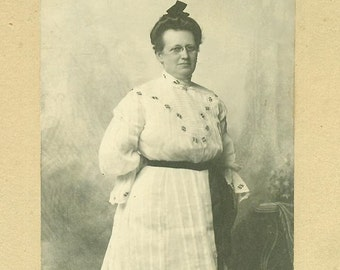Aunt Mary Wearing Hand Made White Embroidered Dress Jacksonville Illinois Victorian Antique Studio Portrait Cabinet Card Photo Photograph