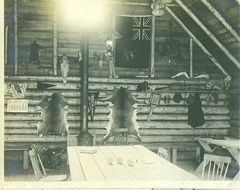 1915 Fredericton Exhibition NB Canada Trapper Cabin Log Home Fur Belts Antique Vintage Photo Photograph