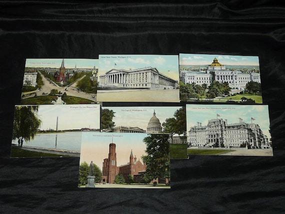Washigton DC Lot 7 Vintage 1920s Color Postcards Potomac Park Monument Treasury Navy Library Capitol Smithsonion