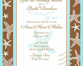 Beach Wedding Starfish Bridal Luncheon Invitation customizable