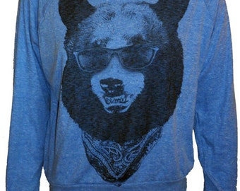 BEAR in sunglasses and bandana American Apparel Raglan Slouchy Sweatshirt Pullover size  S M L
