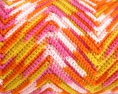 Vintage Zig Zag Knit Afghan Blanket, Twin Bed Spread, Pink, Orange, Yellow, Chevron, Colorful & Kitschy