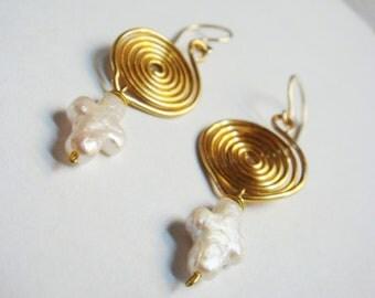 Pearl Earrings   Cross Earrings    Spiral Earrings   Wire Wrap Earrings    Pearl Jewelry   14K Gold Filled