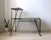 Vintage Early Mid-Century Wrought Iron Hairpin Wire Mesh Bench