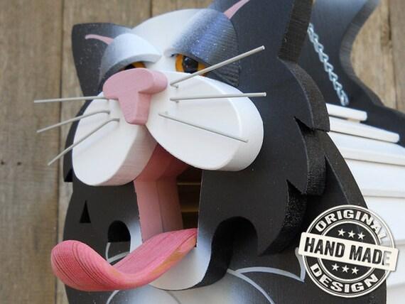 Birdhouse - Black & White Cat Handmade Fully-Assembled Wood