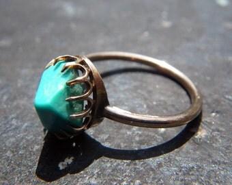 Turquoise Rose Gold Art Deco Ring - vintage- SALE