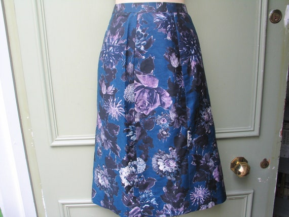 Psychedelic floral print 1950s swing skirt, xxs
