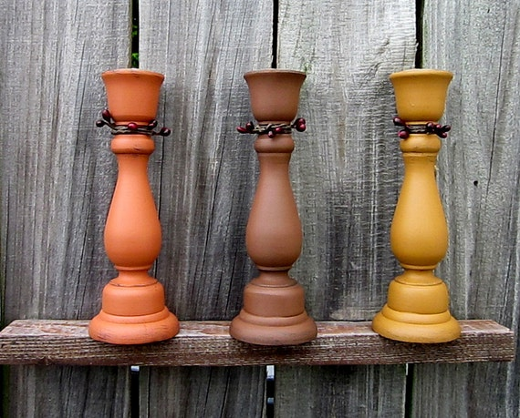 Taper Candle Holders, Painted Wood, Autumn Colors, Fall, Primitive, Set of Three, Terra Cotta, Nutmeg Brown, Mustard, Red Berries
