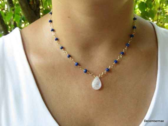 Rainbow Moonstone and Lapis Necklace
