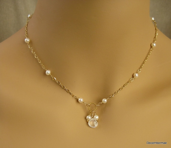 Freshwater Pearl and Moonstone Briolette Necklace in Gold